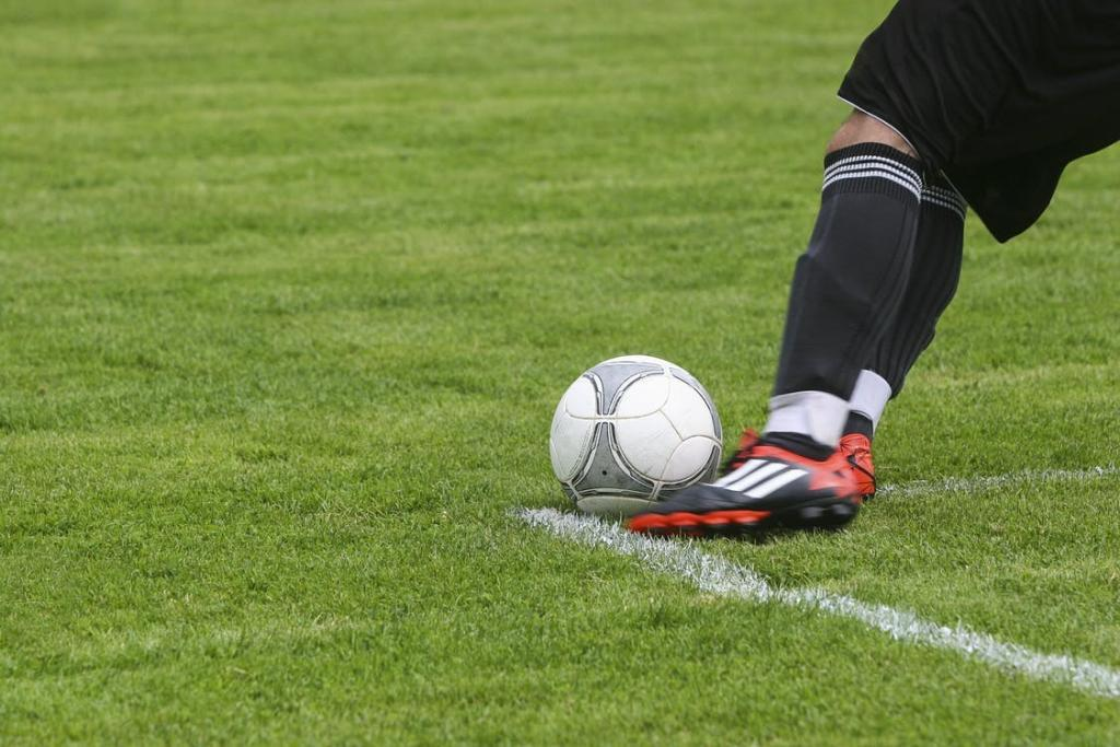 Soccer ball and player on grass