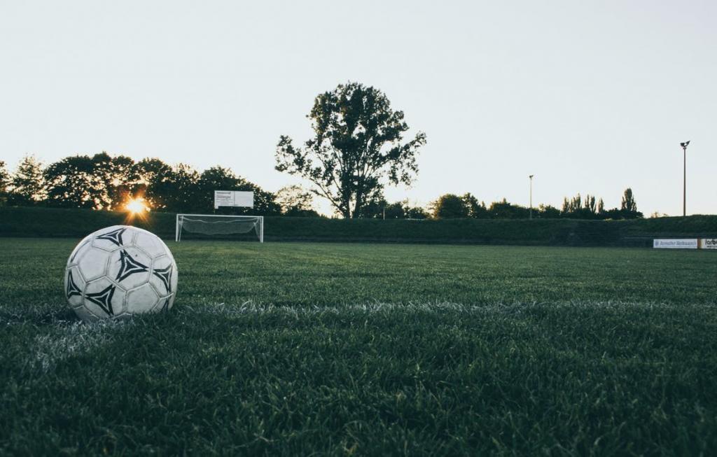 A soccer ball on a field