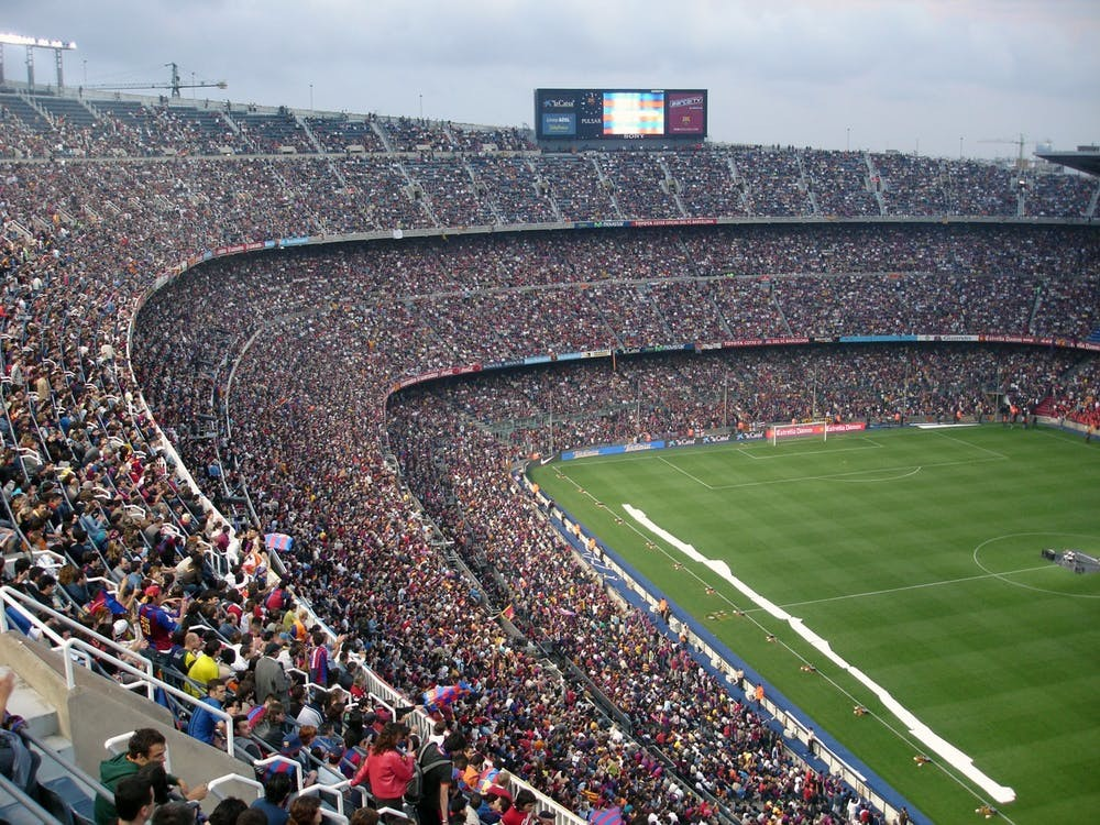 A stadium view of a soccer field
