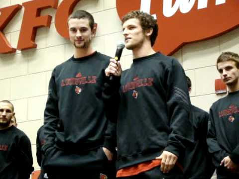 Charlie Campbell and Austin Berry addressing a crowd